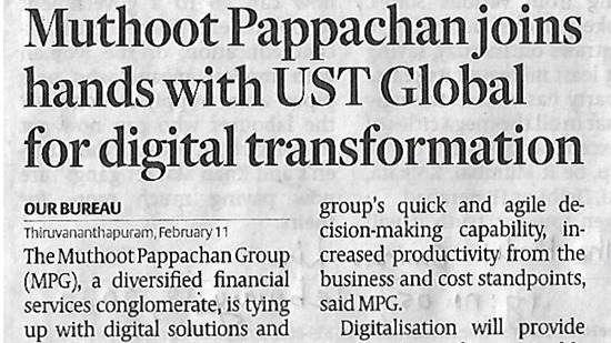 Muthoot Pappachan Group ties up with UST Global for 'digital transformation'