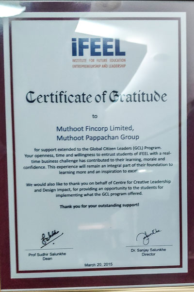 iFEEL – Certificate of Gratitude, 2015:Muthoot Fincorp