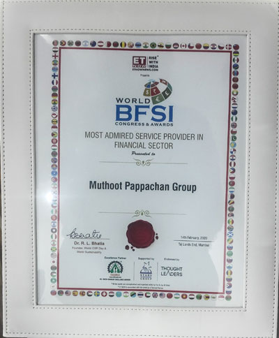 Most Admired Service Provider in Financial Sector, 2020:Muthoot Fincorp