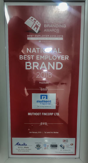 Employer Branding Awards, 2018:Muthoot Fincorp