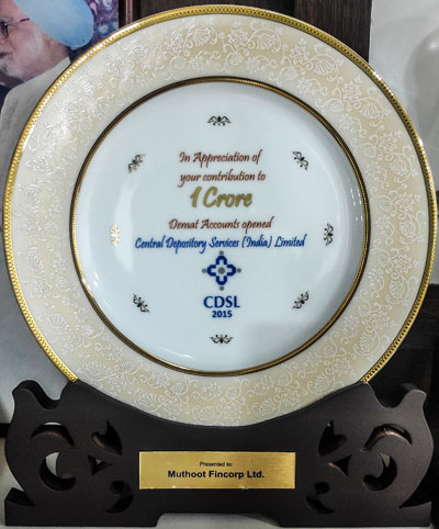 Certificate of Appreciation, 2015:Muthoot Fincorp
