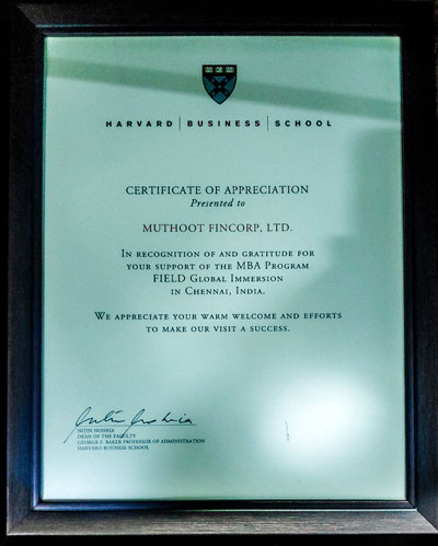 Harvard Business School – Certificate of Appreciation, 2017:Muthoot Fincorp