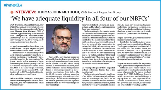 We have adequate liquidity in all four of our NBFCs