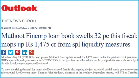 Muthoot Fincorp loan book swells 32 pc this fiscal; mops up Rs 1,475 cr from spl liquidity measures
